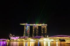 SINGAPUR - 22. NOVEMBER 2016: Marina Bay Sands Resort Hotel auf N Lizenzfreie Stockfotos
