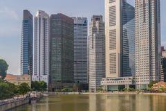 Singapur odbicie Nowożytni drapaczy chmur budynki Zdjęcie Royalty Free