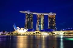 Singapur pejzaż miejski przy nocą, Singapur - 13 2014 Wrzesień Zdjęcia Stock