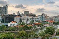 Singapur pejzaż miejski wzdłuż Robertson Quay Obraz Stock