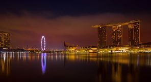 Singapur pejzażu miejskiego złota godzina tęsk expo obraz royalty free