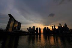 Singapur pejzaż miejski w wieczór Zdjęcia Stock