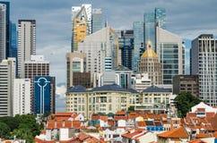 Singapur pieniężny okręg jak widzieć od Chinatown Zdjęcie Stock
