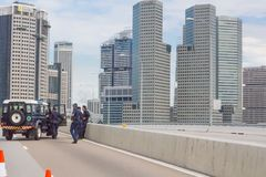 Singapur polici blokada drogi Zdjęcia Stock