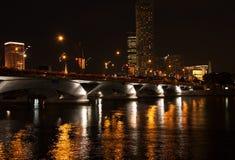 Singapur por noche fotografía de archivo