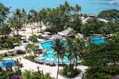 Singapur-Reise - Ansicht des Strandes in Sentosa-Insel stockfotos