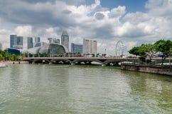 Singapur rzeka i esplanada zdjęcie royalty free