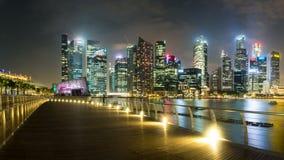 Singapur schronienia Nighttime panorama III Fotografia Royalty Free