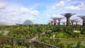 singapur September 2018 Vogelperspektive des botanischen Gartens und der Brücke, Gärten durch die Bucht nahe Jachthafenbuchtsande stockbilder