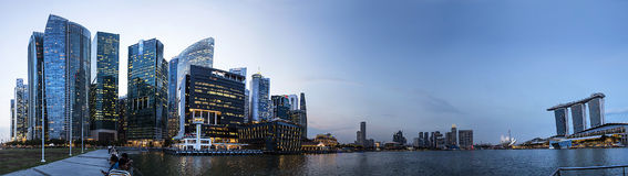 Singapur-skycrarpers Panorama im Sonnenuntergang, Malaysia Lizenzfreie Stockfotografie