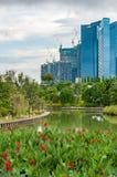 Singapur-Skyline des Geschäftsgebiets und der Marina Bays am Tag Stockbilder