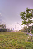 Singapur-Skyline, die das Singapur-Flugblatt kennzeichnen Stockbild