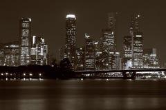 Singapur-Skyline nachts Lizenzfreie Stockfotografie