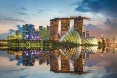 Singapur-Skyline und Ansicht von Marina Bay stockfotografie