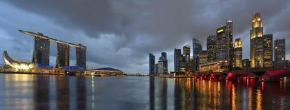 Singapur-Skyline und Fluss Stockfotografie