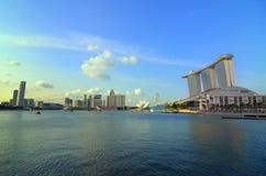 Singapur-Skyline und Fluss Stockbild