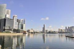 Singapur-Skyline und Schacht Stockfotografie