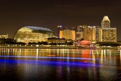 Singapur-Stadt-Abend-Skyline Lizenzfreie Stockfotos