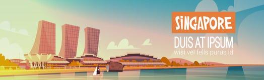 Singapur-Stadt-Ansicht-Wolkenkratzer-Hintergrund-Skyline-Stadtbild mit Kopien-Raum Stockbilder