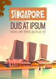 Singapur-Stadt-Ansicht-Wolkenkratzer-Hintergrund-Skyline-Stadtbild mit Kopien-Raum Lizenzfreies Stockfoto