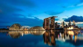Singapur-Stadt nachts stockfotos