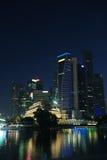 Singapur-Stadt nachts Lizenzfreies Stockfoto