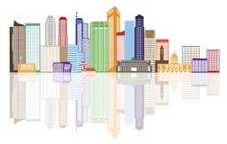 Singapur-Stadt-Skyline-Farbe mit Reflexions-Illustration Stockbilder