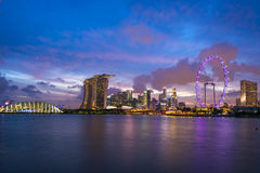 Singapur-Stadt-Skyline nachts Lizenzfreies Stockbild