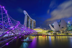 Singapur-Stadtbild nachts Stockfoto