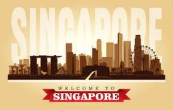 Singapur-Stadtskyline-Vektorschattenbild stock abbildung