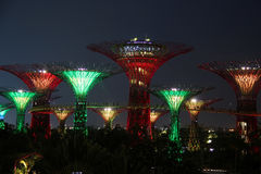 Singapur Supertrees nachts Stockbilder