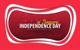 Singapur Tarjeta de felicitación del Día de la Independencia estilo del corte del papel stock de ilustración