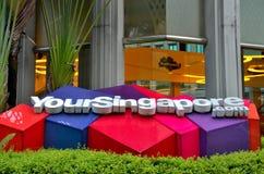 Singapur turystyki deski biuro i logo - Twój Singapur Fotografia Stock