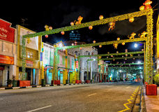 Singapur-verzierte Südbrücken-Straße in Chinatown für neues Jahr Stockfotografie