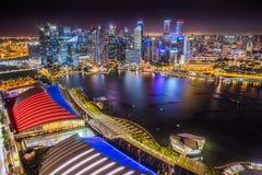 Singapur, Singapur - Vogelperspektive von Marina Bay Sands-Dachspitze lizenzfreies stockbild