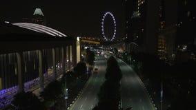 Singapur während der Nacht stock video footage