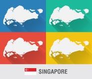 Singapur światowa mapa w mieszkanie stylu z 4 kolorami Obraz Stock
