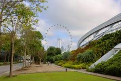 Singapur Widok Ferris koło od Parkowych ogródów zatoką Fotografia Royalty Free