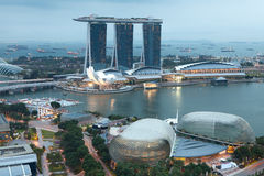 Singapur wieczór Fotografia Royalty Free