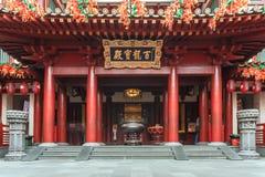 SINGAPURA - 8 de agosto de 2014 templo da relíquia de Toothe da Buda no bairro chinês, distrito financeiro, uma atração turística imagens de stock royalty free