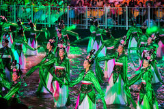SINGAPURA - 3 DE FEVEREIRO: Festival 2012 de Chingay em Singapura em F Fotos de Stock Royalty Free