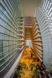 SINGAPURA, SINGAPURA - 31 DE JANEIRO DE 2018: Bonito acima da vista da entrada luxuoso interior de Marina Bay Sands Hotel dentro Fotos de Stock