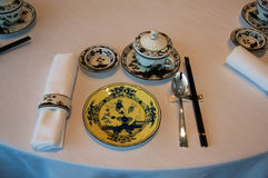 SINGAPURA - 23 de julho de 2016: Interior chinês ou cantonês do restaurante, parte de um hotel de luxo de cinco estrelas em Marin Fotos de Stock Royalty Free