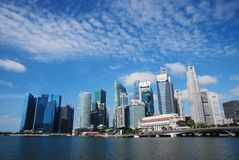 Singapura - 16 de julho de 2016: O distrito financeiro central de Singapura Imagens de Stock Royalty Free