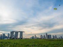 SINGAPURA - 25 DE NOVEMBRO DE 2018: Muitos povos que apreciam e que jogam em Marina Barrage Marina Barrage ? um lugar da recrea?? imagem de stock royalty free