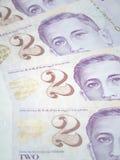 Singapura duas notas de dólar Foto de Stock