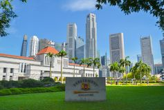 Singapura, em abril de 2017: SINGAPURA, em abril de 2017: O parlamento de Singapura Fotografia de Stock