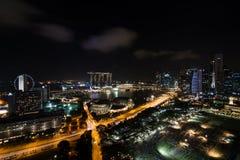 Singapura Marina Bay na noite Fotos de Stock Royalty Free