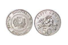 Singapura metal coin, fifty cente, year 1990 royalty free stock photo