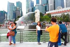 Singapura: Parque de Merlion Imagem de Stock